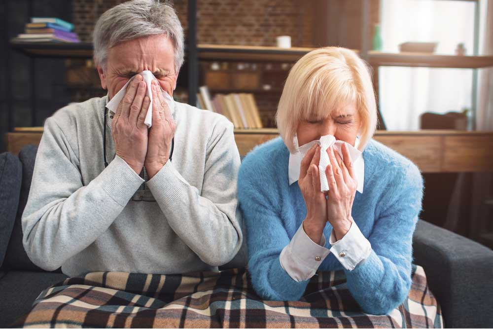 Sick Couple RSV Cough Sneeze